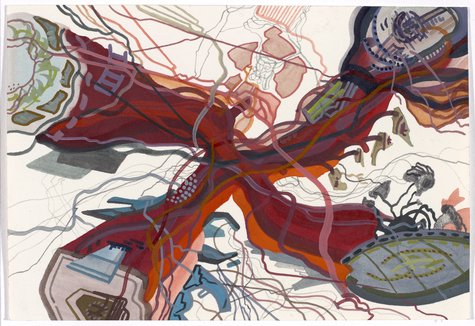 Franz Ackermann, Tourist i) untitled (mental map: Vier neue Terminals), 2005